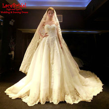 Luxury Royal Ball Gown Sweetheart Beaded Lace Wedding Dresses 2017 Cathedral Train Long Church Bridal Gown robe de mariage TW177