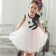 Phelfish New Summer Girl Dress Cartoon Deer Net Yarn Dress Vest Princess Dress Child Clothing Infant Girl Birthday Party Dress