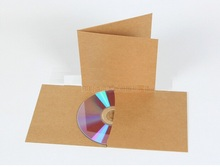 Free Shipping Blank kraft paper cd sleeves,foldable kraft paper sleeves case(China)