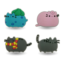 New Arrival 4pcs Pusheen decoration PVC Pins badges brooches collection DIY charms fit Clothes Bags shoes kids gift