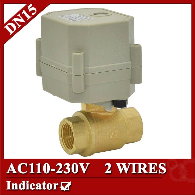 1/2 brass automatic control valve, DN15 electric valve, AC110V-230V mini motorized valve normal open/closed type<br><br>Aliexpress