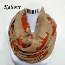 Free shipping  New Fashion Fox Infinity Voile  Scarf Animal Scarf  Fox Scarves