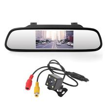 "4.3"" Car Parking Assistance Auto Mirror Monitor Rear View Camera Waterproof CCD Video LED Night Vision Reversing Car-styling"