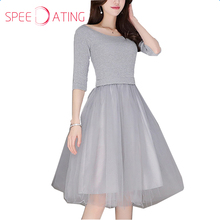 2017 Round Neck Patchwork Top Knit Dress Half Sleeve Gray Tulle Knee Length A line Autumn Formal Women Party Dresses SPEEDATING