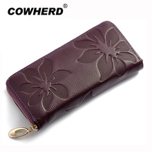 100% Genuine Cow Leather Wallets Women Fashion Flower Pattern Embossing Clutch Bag Long Zipper Purse Money Card Holder(China)