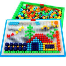 Kids Educational Creative Mosain Mushroom Nail Game toy for Children boys girls DIY Puzzle Sticker toys 296pcs LF724(China)