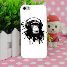 B1084 Earphone Monkey Transparent Hard Thin Case Cover For Apple iPhone 4 4S 5 5S SE 5C 6 6S 6Plus 6s Plus