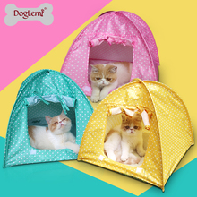 10pcs Mixed Colors Per Pack Water Resistant Cute Polka Dots Foldable Pet Tent Cat Kitty Tent House Camp 3 Colors