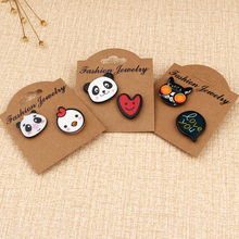1set Acrylic Cartoon Panda Cat Pins And Brooches For Women Girl Fashion Badge Heart Set Brooch Funny Pin Jewelry Bijouterie
