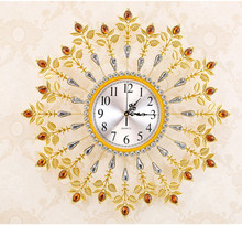 Sitting room quiet metal quartz clock, European style wall clock, personality, creative, wrought iron wall clock