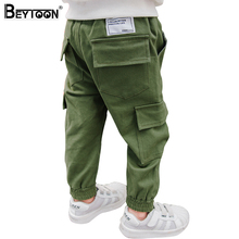 Beytoon Kids Boys Pants Casual Toddler Pants Boys Trousers 2017 New Army Green Patch Pocket Teen Cargo Pants Size 3 6 8 Year(China)