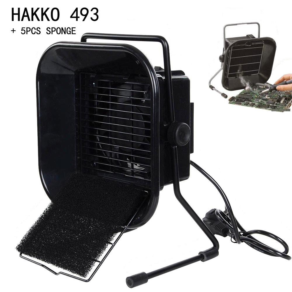 220V EU/US Plug Hakko 493 Solder Smoke Absorber ESD Fume Extractor with 5 free Activated Carbon Filter Sponge<br>