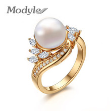 Modyle Gold-Color Simulated Pearl Rings For Women AAA+ Cubic Zirconia Wedding Engagement Band Ring