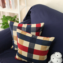 Rustic red blue square 100% cotton cushion case pillow cover Scotland plaid home textile sofa cushion 50/60cm