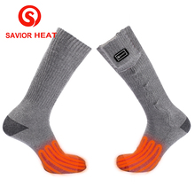 Savior heat battery heated Cotton sock 3 levels control 7.4V heating socks 37-55c winter Warm fishing Soft washable men women(China)