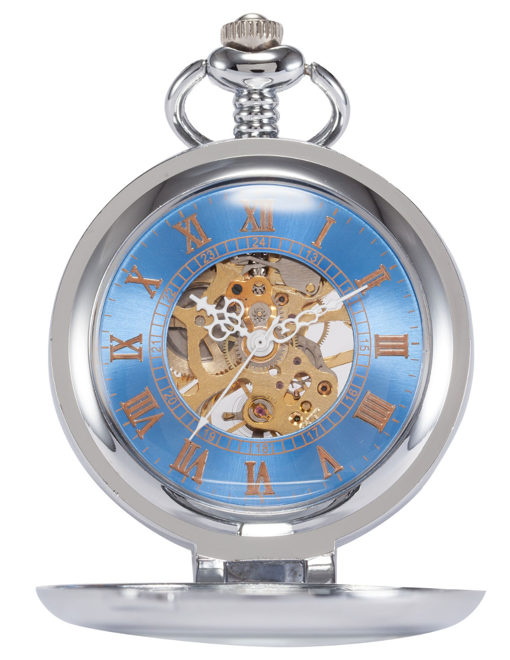 Christmas Gifts Retro Mens Blue Dial Antique Slver Skeleton Steampunk Mechanical Pocket Watch Men With Chain Watches Necklace<br><br>Aliexpress