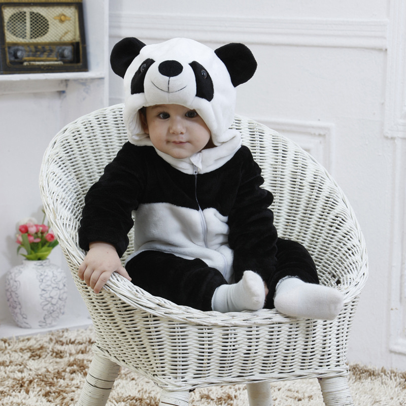 Cartoon Animal Panda Leopard costume baby full Sleeve hooded Sleeper Photography props Infant Homewear Flannel Pajamas Pijamas<br>