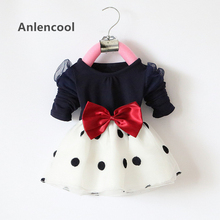 Anlencool 2017 Hot Sales Baby Girls Dress Cute Bow Long Sleeve Spring Sport Princess Style Party Clothing Baby dress 0-2 Years