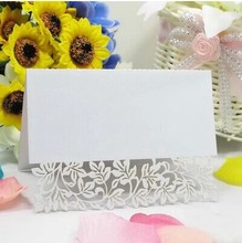 Free Shipping 10X Pieces White Leaf Flower Laser Cut Paper Crafts Desk card place card Wedding Invites Favor Decoration
