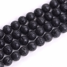 iSTONE Black Lava Stone Loose Beads Well Polished Round 8mm Crystal Energy Stone Healing Power for Jewelry Making(China)