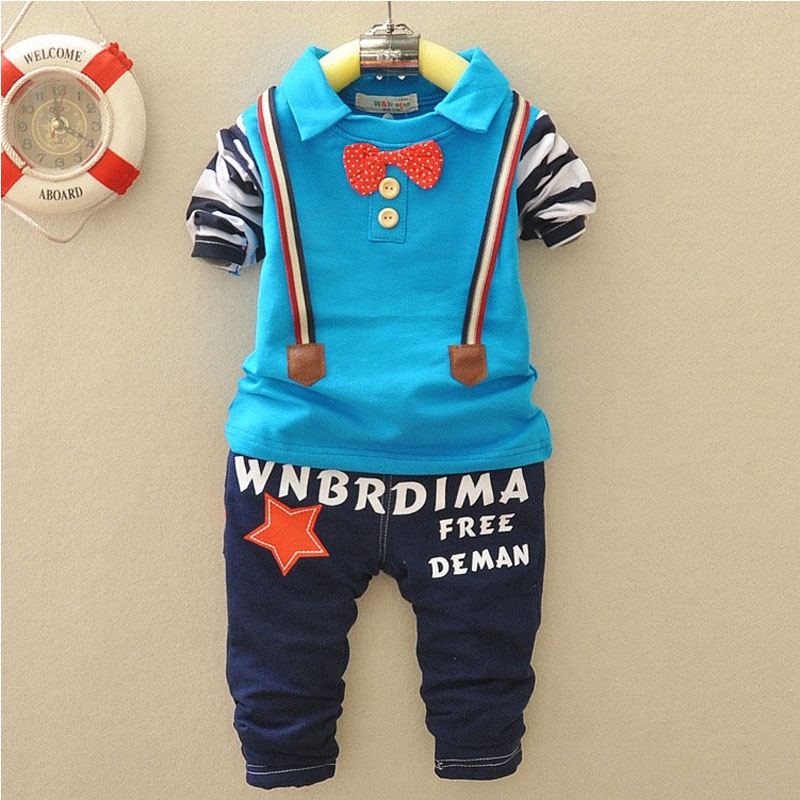 High Quality Baby boy clothes long sleeve t-shirts+pants set kids child Suit cloth bow lie set spring boys clothing outfit coat<br><br>Aliexpress