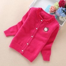 2016 new fashion cartoon girls' cadigans children sweaters 2-8 years girls sweater 8385