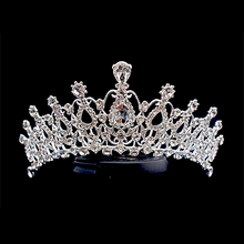 Silver Color Women Vintage Wedding Hair Accessories Beauty Princess Queen Pageant Prom Crystal Bridal Crown And Tiara
