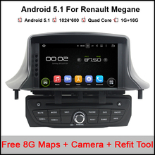 1024x600 Android 5.1 Car DVD GPS for Renault Megane III Fluence 2009-2016 with BT Radio RDS Wifi Mirror-link Free 8GB Map card(China)
