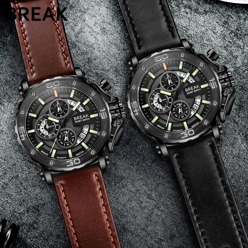 BREAK Men Luxury Brand Leather Strap Casual  Chronograph Luminous Sport Quartz Wristwatches Man Military Watch Relogio Masculino<br>