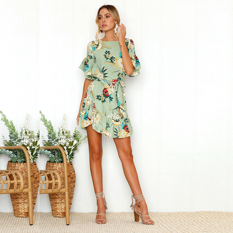 Lossky Summer Women Beach Dress 2018 Bohemian Floral Print Boho Dress O-Neck Short Sleeve Ruffle Mini Chiffon Dress With Belt 19