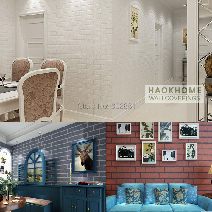 HaokHome PVC Vinyl White Shabby Brick Stone 3D Wallpaper Living room,shop hotel bar Home Decor,0.53*10/roll<br>