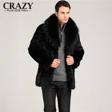 New 2017 Plus Size Men Faux Winter Thickening Mink Fur Outerwear Coat Male With Fox Fur Collar Overcoat