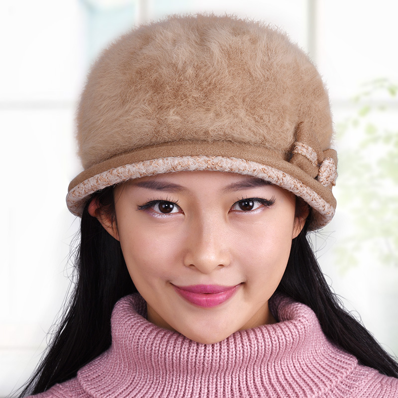 Hat mother female autumn and winter knitted hat beret winter thickening thermal hat fashion knitted rabbit fur cap plus velvet Одежда и ак�е��уары<br><br><br>Aliexpress