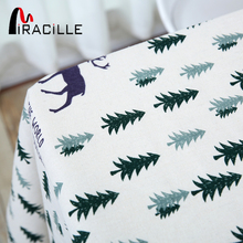 Miracille Europe Style Beige Kitchen Home Decor Dining Table Cloth Christmas Deer and Pine Tree Pattern Table Cover for Party(China)