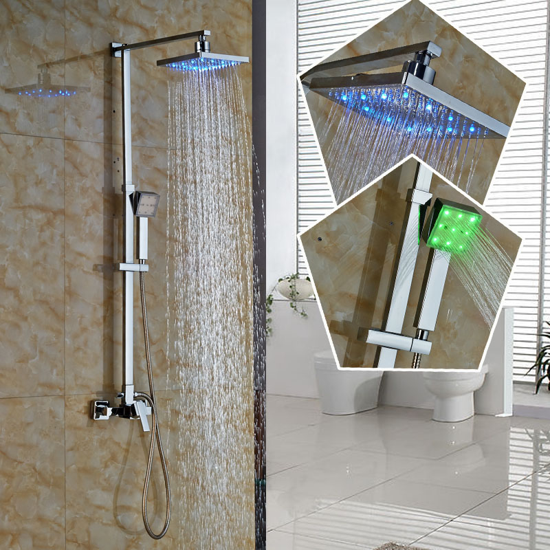 Fashion Single Handle Wall Mounted LED Color changing Shower Faucet Set Chrome 8 Square Rain showerhead + Handshower<br><br>Aliexpress