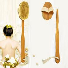 Natural Long Wooden bath brush Bristle Body Brush Massager Bath Shower Back Spa Scrubber A3