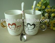 24sets/lot Novelty valentine gifts ceramic lovers mug 2carat crystal diamond ring couple cup with spoons