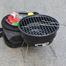 Stainless steel outdoor household couple barbecue brazier charcoal portable mini bbq grill with shoulder cooler bags