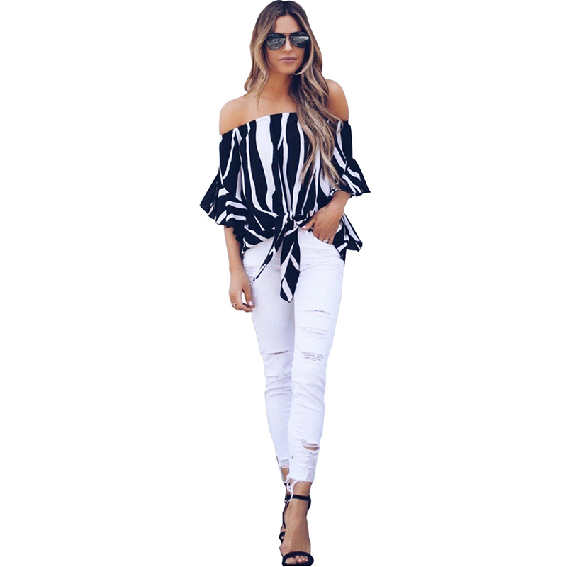 LOSSKY Women's Striped Chiffon Shirts Blouse Sexy Off Shoulders Bandage Women Casual Blusas Shirt 2018 Summer Loose Elegant Tops 14