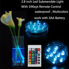 Big Discount!!!4 PCS/lot RGB Submersible Battery Powered Multicolor Glass Vase Decorative Lighting Mini Night Lamp With Remote