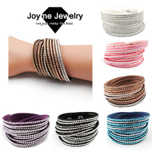 Buy New Multilayer crystal Wrap bracelet Rhinestone Bling slake deluxe bracelet Double wrap leather bangle Pulseiras Femininas for $2.14 in AliExpress store