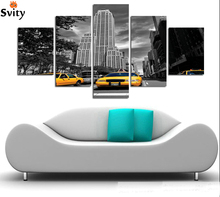 5 panels Fashion Black and white style scenery painting print on canvas Wall Art Home Decor Modular picture for Living Room A86