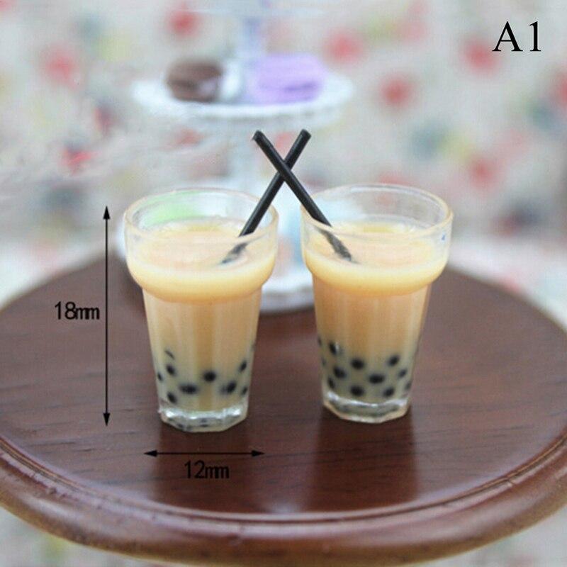2Pcs 1//12 Dollhouse Miniature Accessories Simulation Pearl milk tea Model Dr vi