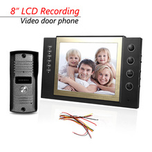 8 inch LCD Luxury Home Color Video Record Door Phone Doorbell Entry Intercom System 700TLV IR Camera Support Max 32G SD Card