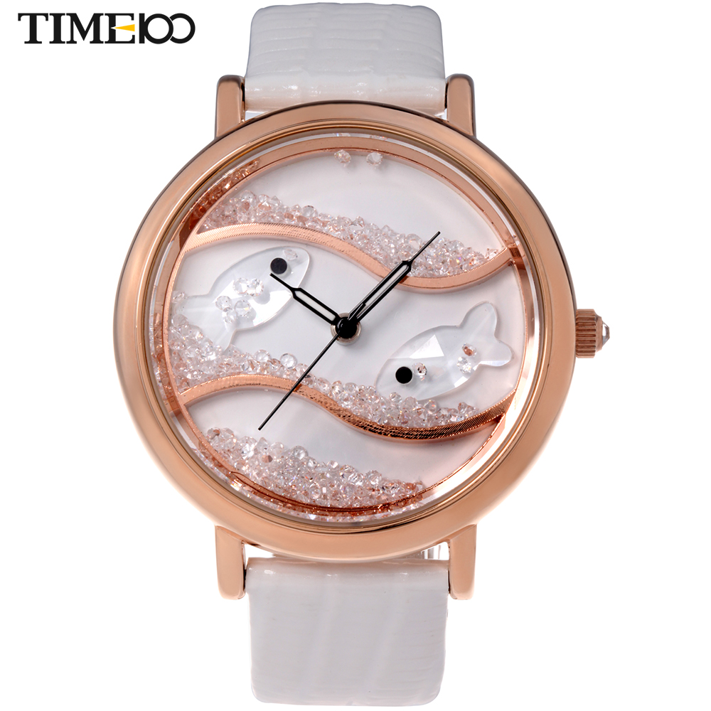 Fashion Time100 Womens Diamond Big Face Flowing Crystal Fish Dial White Leather Strap Ladies Quartz Dress Watches Reloj Mujer<br>