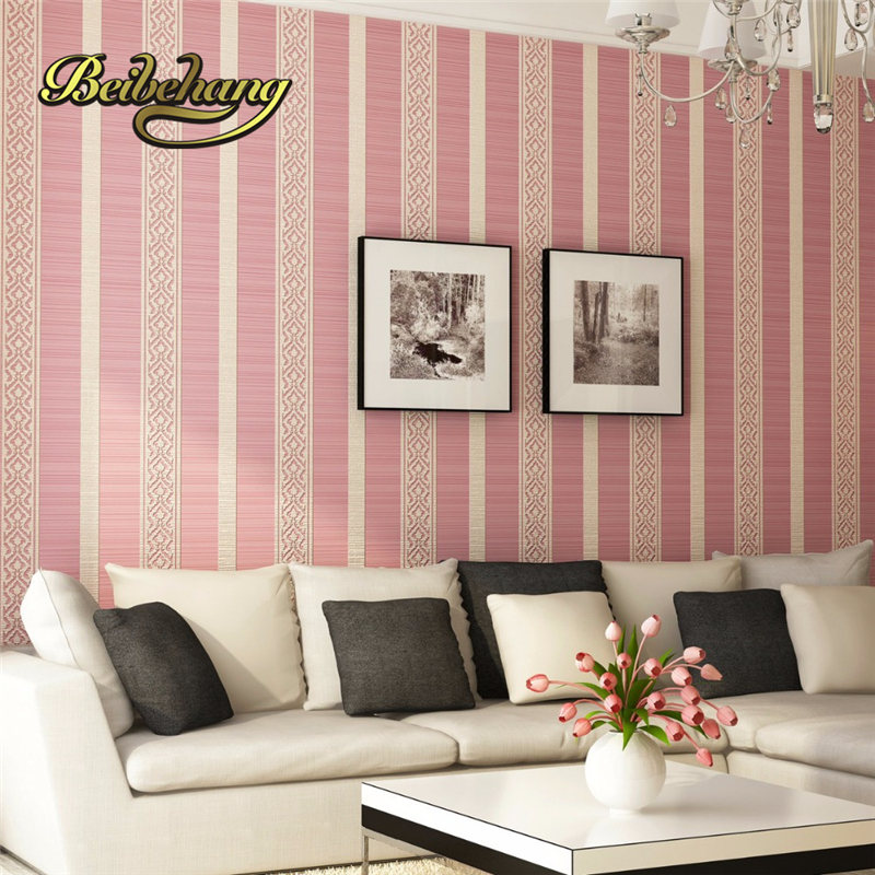 beibehang Modern simple vertical striped nonwoven wallpaper living ...