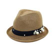 b23c4ae906726 Flat-top paja sombrilla sombrero con el borde curvado perla casquillo del  Jazz para el