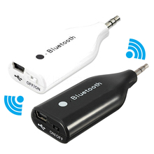 Best Bluetooth car kit 3.5mm Mini Bluetooth Wireless AUX Handsfree Speaker Music Receiver with Audio Cable For Phones(China)