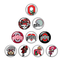 New ZB0396 mixed 10pcs NCAA OHIO STATE team logo 18mm/20mm/25mm glass cabochon & snap buttons for DIY jewelry(China)