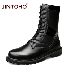 JINTOHO Big Size Men Genuine Leather Shoes Winter Men Boots Mid-Calf Motorcycle Boots Leather Male Boots Snow Winter Shoes
